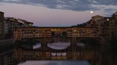 WS Ponte Vecchio at dusk / Florence,Tuscany,Italy Stock Footage