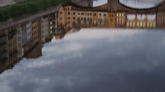 MS Reflection of Ponte Vecchio in Arno river at dusk / Florence,Tuscany,Italy Stock Footage