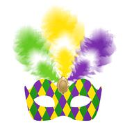 Venetian carnival mask with colorful feathers Stock Illustration