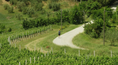 WS HA Mature man jogging through country road / Tuscany,Italy Stock Footage