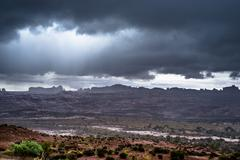 Rainstorm in the arches national park Stock Photos