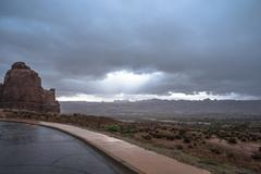 rainstorm in the arches national park - stock photo