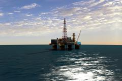 Extraction of oil from oil platform Stock Illustration