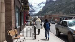 Telluride Colorado business street mountains HD 285 Stock Footage