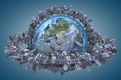 "Globe and urbanization. ""Elements of this image furnished by NASA"" Stock Illustration"