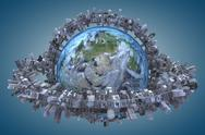"Stock Illustration of globe and urbanization. ""Elements of this image furnished by NASA"""