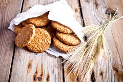 Fresh crispy oat cookies and ears Stock Photos