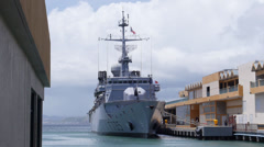 SLOW MOTION - French Frigate Germinal F735 in San Juan Harbor 5 Stock Footage