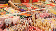 Candies of every shape and form in the sweet shop Stock Footage