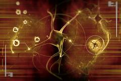 Digital illustration of a neuron in colour background Stock Illustration