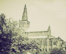 Vintage sepia Glasgow cathedral - stock photo