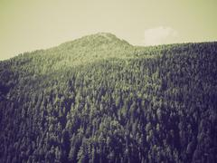 Vintage sepia Aosta Valley mountains - stock photo