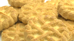 4K Cookie Biscuit Rotating On Plate Closeup Stock Footage