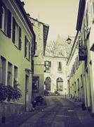 Vintage sepia Rivoli old town, Italy - stock photo