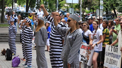 Demonstration  students in clothes of prisoners against the dictatorship in Kiev - stock footage