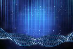 3d illustration of a dna frame in beautiful blue background - stock illustration