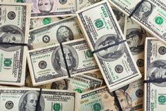 Background of dollars banknotes Stock Photos