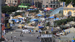 Barricades at euromaidan on Independence Square in Kiev. Ukraine Stock Footage