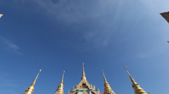 Tilt down on Facade of Buddhist Temple in Upcountry Thailand - Ban Krut Stock Footage