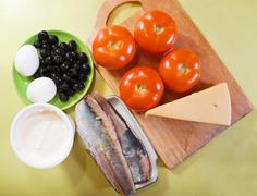 ingredients for stuffed tomato salad - stock photo