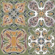 4 art nouveau wallpapers Stock Illustration