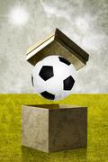 Stock Illustration of soccer in the open box, vintage style