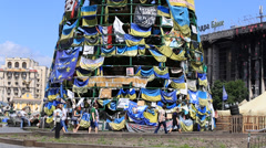 Fir-tree of flags on Independence Square in Kiev. Ukraine Stock Footage
