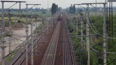 Passenger train crossing on railway, commuters train, public transportation Stock Footage