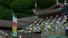 Praying flags moving in the wind Stock Footage
