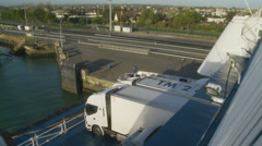 Lorry ferry crossing timelapse from France Stock Footage
