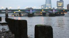 London Riverbanks Ruins Stock Footage