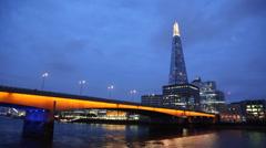London Bridge - Shard - Night Stock Footage
