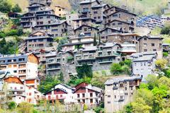 Residence houses at Pyrenees mountains Stock Photos