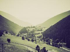 Vintage sepia Aosta Valley mountains Stock Photos