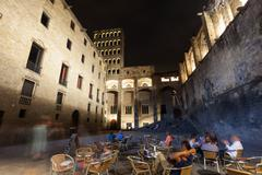 Night view of Placa del Rei at Barrio Gotico Stock Photos
