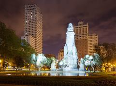 Stock Photo of Cervantes Monument in Spain Square at Madrid
