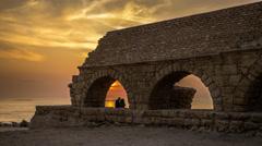 Caesarea sunset timelapse 0114 2 4K Stock Footage