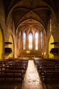 Interior of  Sants Maria del Turers church at Banyoles - stock photo