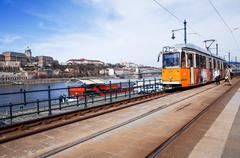 typical,tramway in budapest, - stock photo