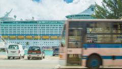 Pink Bermuda Transport Bus Passing Cruise Ship Stock Footage