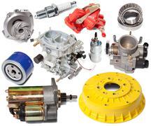Set of automotive spare parts Stock Photos
