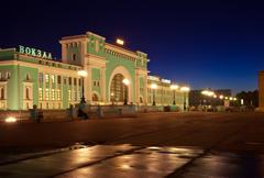 night view of  railway station at Novosibirsk - stock photo