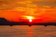 View of Neva river in dawn Stock Photos