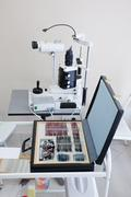 Medical tools in ophthalmologist room Stock Photos