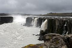 view of fantastic and powerful selfoss waterfal, iceland - stock photo