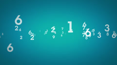 Random Numbers Zooming Blue Stock Footage