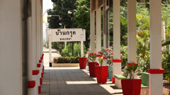 Sign of Ban Krut Rail Station in Upcountry Thailand Stock Footage