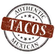 tacos brown round grungy stamp isolated on white background - stock illustration