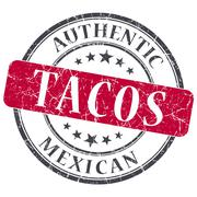 tacos red round grungy stamp isolated on white background - stock illustration