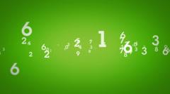 Random Numbers Zooming Green Stock Footage